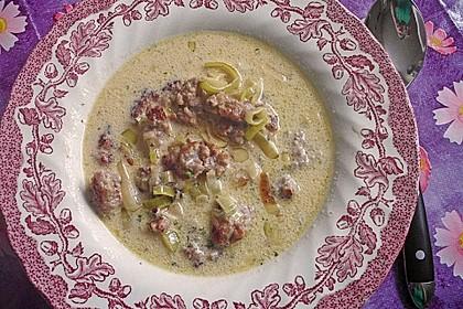 Käse-Lauch-Suppe mit Hackfleisch 86