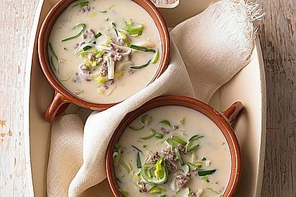 Käse-Lauch-Suppe mit Hackfleisch 0