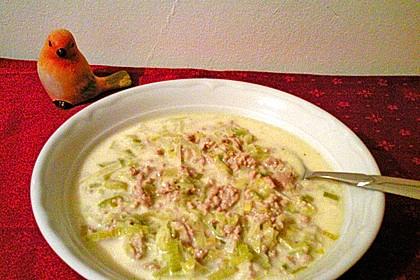 Käse-Lauch-Suppe mit Hackfleisch 84