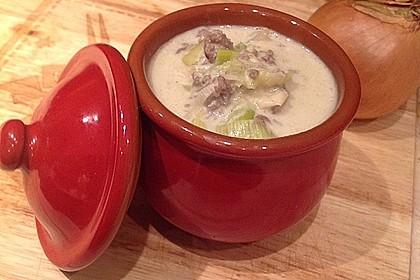Käse-Lauch-Suppe mit Hackfleisch 3