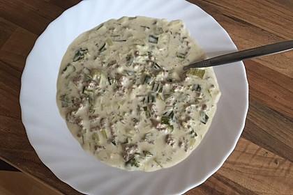Käse-Lauch-Suppe mit Hackfleisch 82