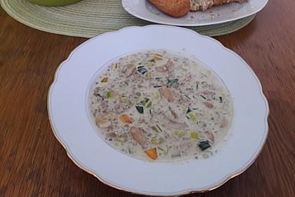 Käse-Lauch-Suppe mit Hackfleisch 92