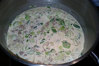 Käse-Lauch-Suppe mit Hackfleisch 114