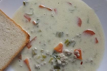 Käse-Lauch-Suppe mit Hackfleisch 47