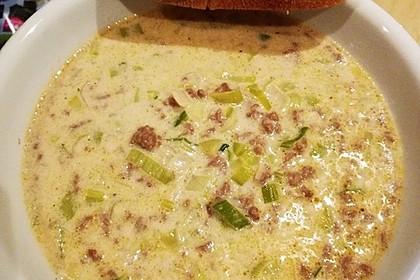 Käse-Lauch-Suppe mit Hackfleisch 6