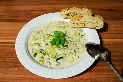 Käse-Lauch-Suppe mit Hackfleisch 5