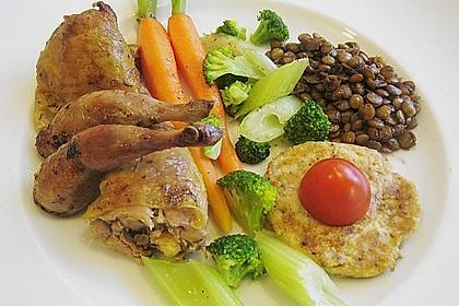 Perhuhn- und Wachtelkeulen gefüllt an einer Gemüsevariation 0