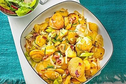 Bratkartoffeln mit Porree und Käse